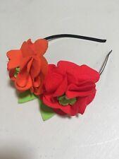 Girl Women Headband Head piece with Flowers in Red & Orange metal band