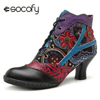SOCOFY Women Splicing Jacquard Block Ankle Boots Floral Genuine Leather Shoes