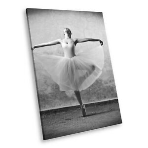 E092 Black White Portrait Canvas Picture Print Large Wall Art Ballerina Ballet