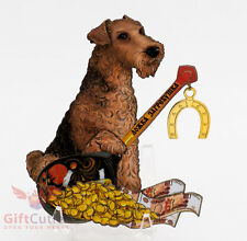 Russian Wooden fridge Magnet Airedale Terrier Dog symbol of Happy New Year