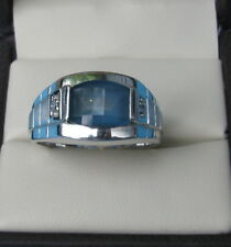 MEN'S WHITE GOLD RING WITH BLUE TOPAZ WITH SMALL DIAMONDS, 10K Gold 9 GRAMS