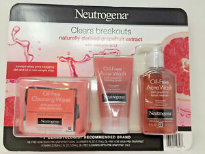 Neutrogena Oil-Free Pink Grapefruit Acne 3 Pack Acne Face Wipes, Cleanser, Scrub