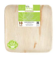 "Disposable natural palm leaf plates - Square 10"" (50 count)"