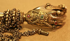 Rare Antique East Indian Silver Hand & Arm Pipe with Gilt & Gemstones Surreal