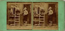 Dutch Farm Life - Wooden Shoes, Boy on Ladder, Old House 1860s Stereoview