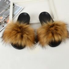 Fluffy plush Ladies sandal flip flops flat outdoor mule big size furry slides