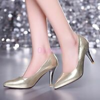 Womens Girls High Heel Pointy Toe  Shining Pumps Slip on Office Shoes Plus Size