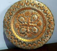 ANTIQUE RED COPPER BRASS & SILVER DISH / PLATE WALL HANGING HAND CARVED 24cm