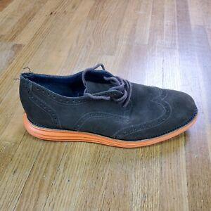 Cole Haan Zero Grand Men's Wingtip Casual Shoes Size 8.5 Suede Brown Orange