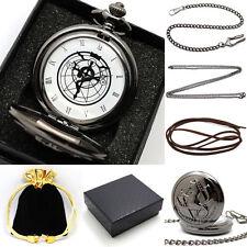 Retro Black Fullmetal Alchemist Necklace Quartz Pocket Watch Chain Set+Gift Box