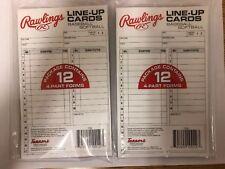 Rawlings 4 Part Batting Line Up Cards Baseball Softball 12 Cards Per Pack 2 Pack