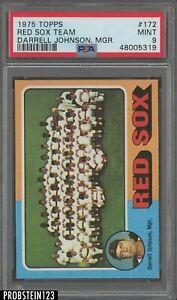 1975 Topps #172 Boston Red Sox Team Darrell Johnson Manager PSA 9 MINT