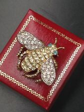 KJL Kenneth Jay Lane Signed Queen Bee Vintage Brooch Beetly Bug Fly All Sparkle!