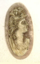 NOS Antique Oval Carved Shell Detailed Cameo Stone Piece 24 mm x 12 mm #ZZ82
