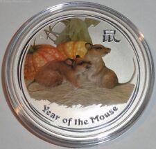 Australia 2 Oz plata lunar ratón II 2008 color