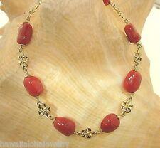 "Hawaiian 14k Gold Plumeria Freeform Italian Dark Red Coral Bracelet 7.75"""