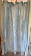 Asian Inspired Drape Shower Curtain Blue With Pink Embroidery