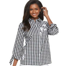 Croft Barrow black white gingham floral Embroidered Blouse Womens size M NEW