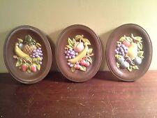 Vtg Set of 3 Chalkware Ceramic Fruit Wall Plaques hand painted metallic Kitsch