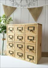Vintage Wooden Trinket Storage Rustic Design Office Organiser Box Drawers