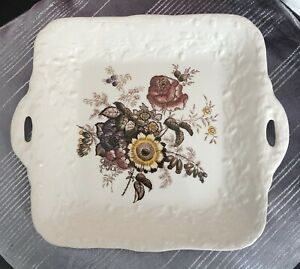 Mason's Ironstone Friarswood Pattern Square Sandwich Plate/Platter With Handles