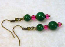 Green and Hot Pink Glass Bead Earrings Antique Brass Tone