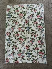 "Vintage 50s Cotton ivory Floral Barkcloth  Fabric 48"" x 35"" long"