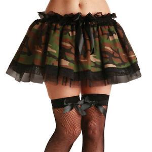 Ladies Camo Army Girl Camouflage Military Tutu Skirt Fancy Dress One Size