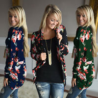 US Women Long Sleeve Floral Printed Cardigan Coat Tops Casual Open Front Jacket