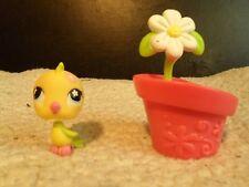 """Littlest Pet Shop #595 """"RETIRED"""" Yellow and Green Bird W/ Flower Pot"""