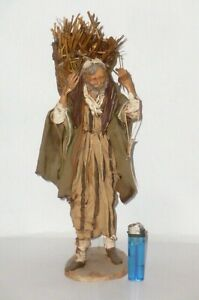 31cm Big Angela Tripi Terracotta Figure Nativity Figurine Arab Shepherd Straw