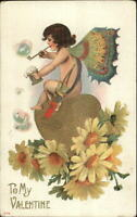 Valentine Cupid Butterfly Wings Blowing Bubbles c1910 Postcard