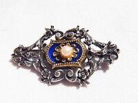 Prachtvolle Gründerzeit Brosche Brooch Silber Emaile Perle Gold Nr.130