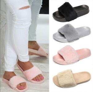 Ladies Fluffy Fur Flat Sandles Women Casual Slippers Slip On Mules Slider Shoes