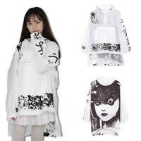Womens Kimono Junji Ito Anime Jacket White Hoodie Coat Long Sleeve Casual Tops