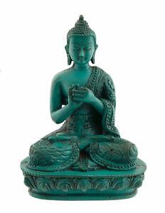 Statue Bouddha Tibétain Dhyani Vairochana en résine Turquoise 13.5 cm 8542