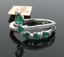 Fine 0.59ct Colombian Emerald & 0.11ct Diamond 14K White Gold Ring