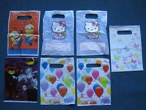 7 x various kids party bags, Hello Kitty Minions butterflies balloons Halloween