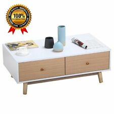 Modern 2 White Drawers Coffee Table Solid Wood Legs Center Tables Living Room