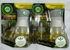 2 Packs Air Wick Woodland Pine 1 Warmer 2 Refills/1 Diffuser 2 Recharges