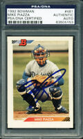 Dodgers Mike Piazza Authentic Signed Card 1992 Bowman Rc Rookie #461 PSA Slabbed