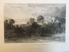 1835 Antiguo impresión; Lilburn Torre, cerca de Wooler Northumberland después de Thomas Allom