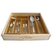 Flatware Storage Holder Brown Expandable Wood Adjustable Fit Drawer Organizer