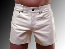 Lederhose kurz Ledershorts 56 Shorts weiß W40 leather shorts white Cuir