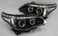 SCHEINWERFER SET BMW E60 E61 LED TAGFAHRLICHT TFL LOOK SCHWARZ BLACK LED BLINKER