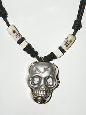 "SKULL Watch Necklace Spring Loaded Quartz & 2 BONE SKULLS & SHELLS 16""-28"" NEW!!"