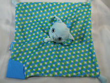 BogginHead Elephant Blue Green Teether Security Blanket Lovey  12 x 12""