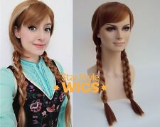 DELUXE ADULT ANNA FROZEN DISNEY LONG BROWN PLAIT WHITE STREAKED COSTUME WIG