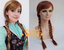 Lujo para adultos Anna Frozen Disney larga marrón trenzado en cuero blanco Veteada Disfraz Peluca