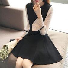 Korean Women Flare Sleeve Slim Pleated Tunic Short Shirt Party Cocktail Dress